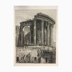 Veduta del Tempio della Sibilla a Tivoli - Original Etching by L. Rossini - 1824 1824