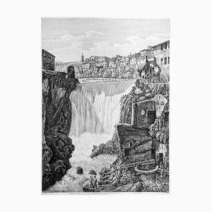 Veduta della Gran Caduta dell' Aniene... - Original Etching by L. Rossini - 1825 1825