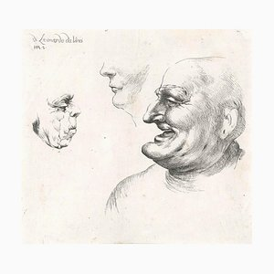 Three Grotesque Heads After Leonardo da Vinci - Late 17th Century Late 17th Century