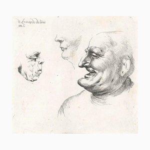 Three Grotesque Heads After Leonardo da Vinci - Late 17th Century Late 17th Century