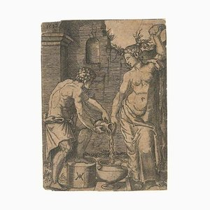 Waschfrau und Sklave - Original Radierung 1517 1517