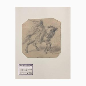 Soldat zu Pferd - Original Bleistiftzeichnung von I. Kramskoi - ca. 1970 1870 ca.