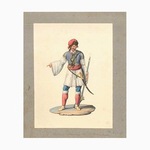 Costume albanese di Villabadessa - Aquarelle Originale par M. De Vito - 1820 ca. 1820 ca