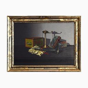 Stillleben mit Objekten - 1970er Jahre - Öl auf Leinwand - Modern 1973