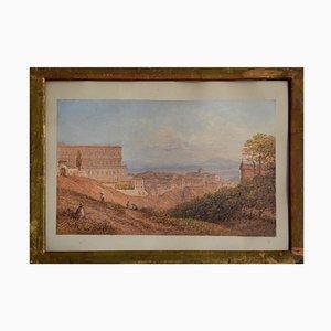 Ansicht von Königspalast in Neapel - 19. Jahrhundert - Aquarell - Modern