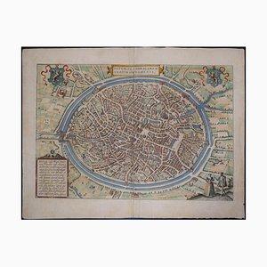 Carte Brugge Antique de '' Civitates Orbis Terrarum '' - Gravure à l'eau forte - Old Master 1575