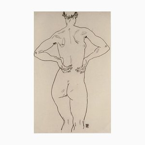 Weiblicher Rückenakt - Original Lithograph after Egon Schiele 1990