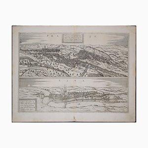Prag und Egra, Antike Karte von '' Civitates Orbis Terrarum '' 1572-1617