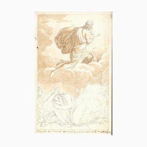 Mythologisches Thema - Original Kohle und Tintenzeichnung