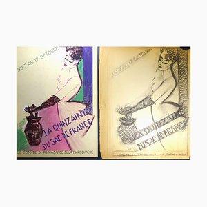 Double Study for the Affiche ''La Quinzaine du Sac de Fr'' - 1940s - Bernard Bécan 1940