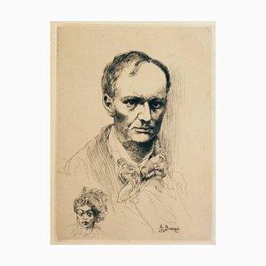 Portrait de Baudelaire (Porträt von Charles Baudelaire) - Radierung - Frühes 1900 Frühes 20. Jahrhundert