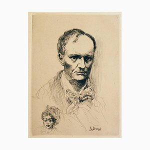 Portrait de Baudelaire (Portrait of Charles Baudelaire) - Etching - Early 1900 Early 20th century
