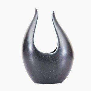 Vaso basso Caolina nero di Gunnar Nylund per Rörstrand, anni '60