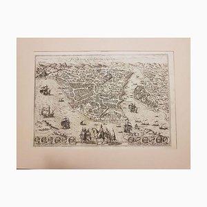Carte Antique de Byzance de '' Civitates Orbis Terrarum '' - 1572-1617 1572-1617