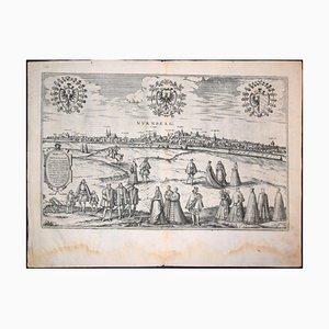 Antike große Nürnberger Karte von '' Civitates Orbis Terrarum '' - 1572-1617 1572-1617