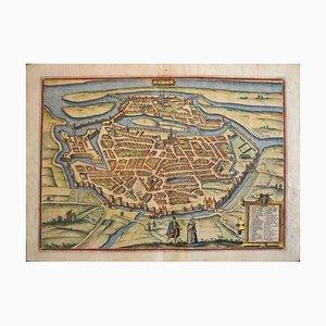 Metz, Mappa antica di '' Civitates Orbis Terrarum '' - 1572-1617 1572-1617