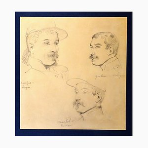Le Soldats - Original Pencil Drawing by Horace Vernet 19th century