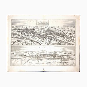 Prag und Egra, Antike Karte von '' Civitates Orbis Terrarum '' - 1572-1617 1572-1617