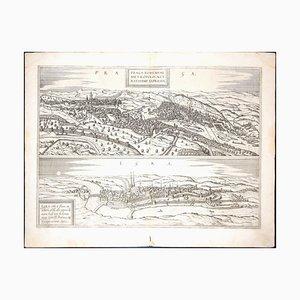 Prague and Egra, Antique Map de '' Civitates Orbis Terrarum '' - 1572-1617 1572-1617