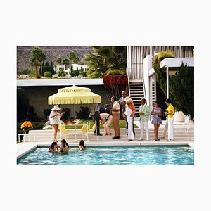 Poolside Party Oversize C Print Framed in White by Slim Aarons