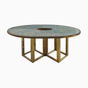 Mid-Century Brass & Marble Dining Table