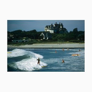 Rhode Island Surfers Oversize C Print Framed in White by Slim Aarons
