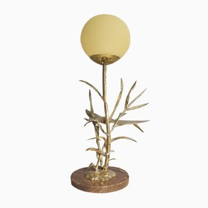 Italian Brass, Marble & Glass Table Lamp, 1970s