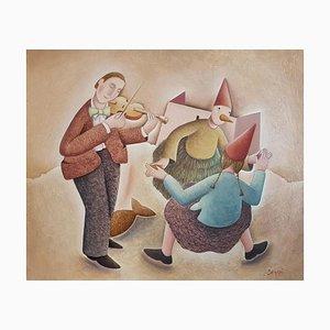 Un Ballo magico - Original Oil on Wooden Panel by C. Benghi - 2000s