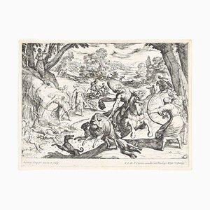 Escena de caza - Grabado Original de Antonio Tempesta - principios del siglo XVII principios del siglo XVII