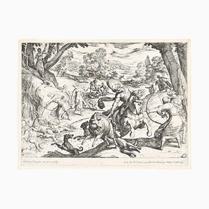 Hunting Scene - Original Etching by Antonio Tempesta - Early 17th Century Early 17th Century