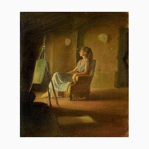 Girl on the Armchair - Oil on Canvas by Anonymous Italian Artist - 1950s 1950s