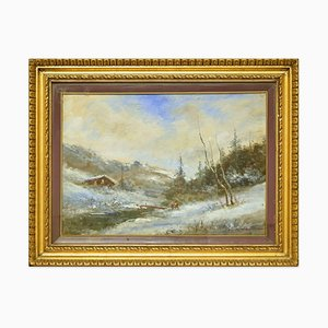 Paisaje nevado - Óleo sobre lienzo de Francesco Mancini - Finales del siglo XIX Finales del siglo XIX