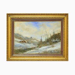 Snowy Landscape - Öl auf Leinwand von Francesco Mancini - Spätes 19. Jh. Ende 19. Jh