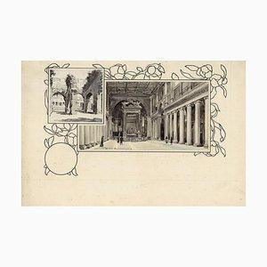 Santa Maria Maggiore and Coliseu - Original China Ink Drawing by A. Terzi - 1899 1899