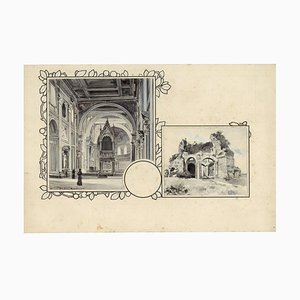 San Giovanni and Minerva Temple - Original China Ink Drawing by A. Terzi - 1899 1899
