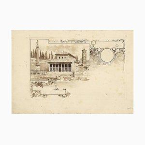 San Lorenzo Church - Original China Ink Drawing by A. Terzi - 1899 1899