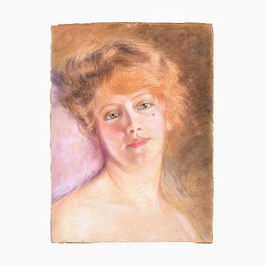 Female Portrait - Original Pastel Drawing Early 1900 Early 1900
