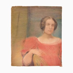 Woman in Red - Original Pastel Drawing Early 1900 Early 1900