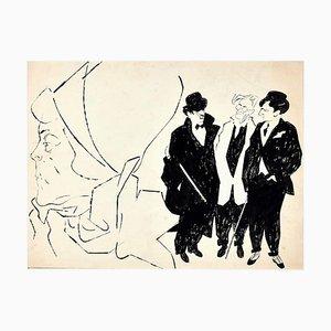 Montmartre - Original China Tuschezeichnung von A. Hallman - 1940er 1940er