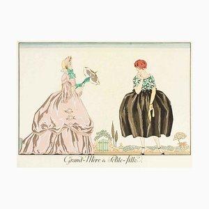 Grand-mere et Petite-fille - Original Pochoir by G. Barbier - 1920 1920