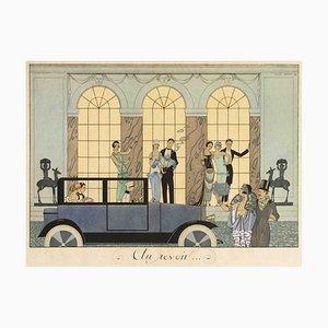Pochoir Au Revoir Original par G. Barbier - 1920 1920