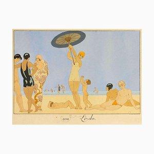 Au Lido - Original Pochoir von G. Barbier - 1920 1920