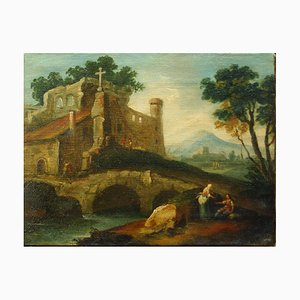 Fluvial Landscape with Bystanders - Italian School of Venice - 18th century 18th century