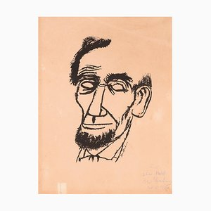 Portrait of Lincoln - Hand signed and Dedicated Print by Ben Shahn - 1955 1955