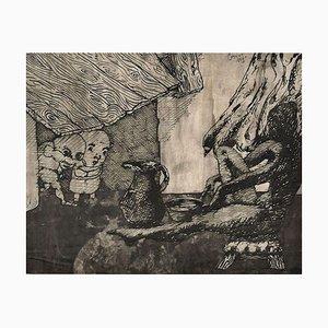 Surrealistische Komposition - Original China Tusche Zeichnung von Jorge Castillo - ca. 1960 1960er Jahre