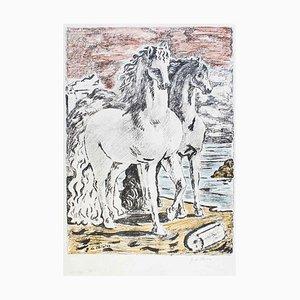 Ancient Horses - Original Lithografie von Giorgio De Chirico 1966