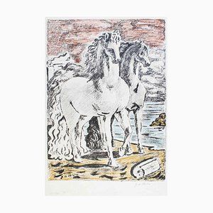 Ancient Horses - Original Lithograph by Giorgio De Chirico 1966