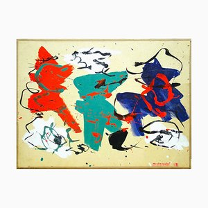 Composición abstracta - Tempera original sobre papel de Luigi Montanarini - 1979 1979