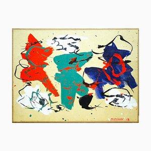 Composizione astratta - Tempera originale su carta di Luigi Montanarini - 1979 1979