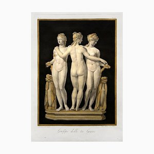 Group of the Three Graces - Radierung von Pietro Bettelini After Bernardino Nocchi 1821